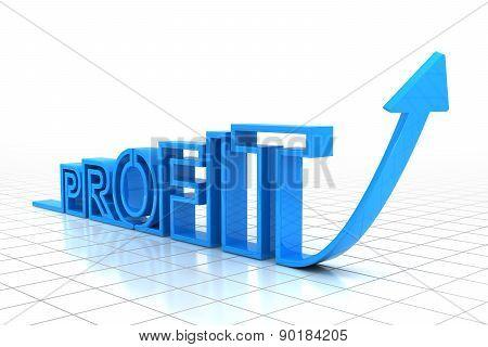 Upward arrow forming the word profit, 3d render poster