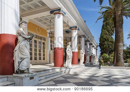 Achillion palace in Corfu island , Greece