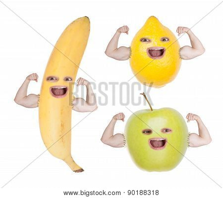 Funny Fruit Faces Showing Strong Hands.