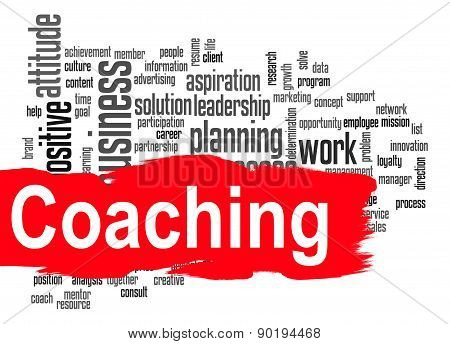 Coaching Word Cloud With Red Banner