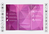 Tri-Fold Brochure mock up vector design. Polygonal background. Corporate Business Style poster