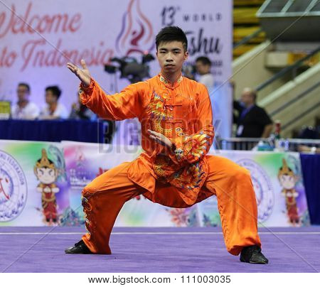 JAKARTA, INDONESIA - NOVEMBER 15, 2015: Jiahong Zhuang of Hong Kong performs the movements in the men's Taijiquan event at the 13th World Wushu Championship 2015 held in Istora Senayan, Jakarta.