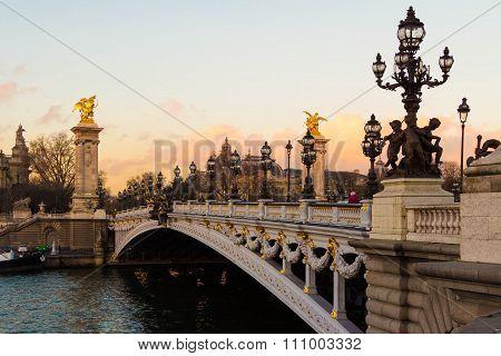 The Bridge  Alexandre Iii, Paris, France.