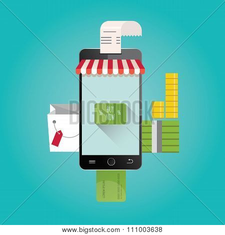 Modern illustration of online shopping. Mobile store.