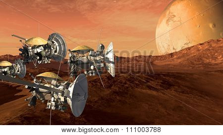 Unmanned spacecraft probes scouting a Mars like red planet, for space exploration and science fiction backgrounds. poster