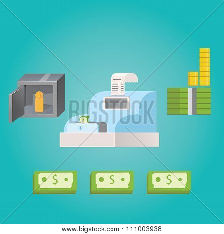 Modern Vector Illustration Of Money Savings.