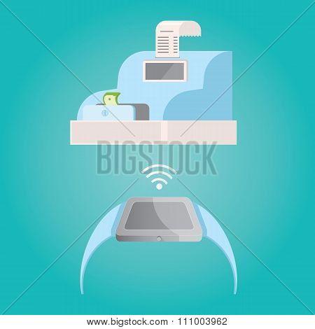 Modern Vector Illustration Of Watch Payment