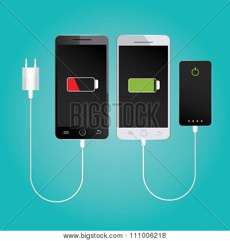 Modern Vector Illustration Of Mobile Charging.