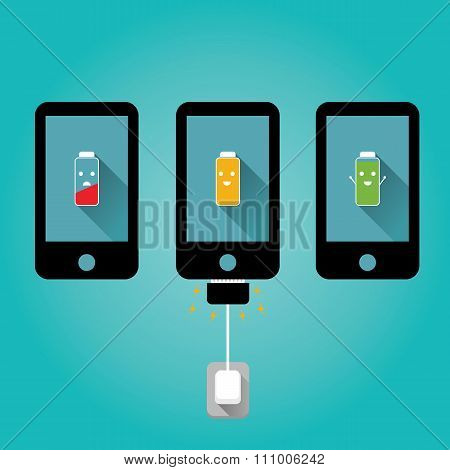 Modern Vector Illustration Of Friendly Mobile Charging