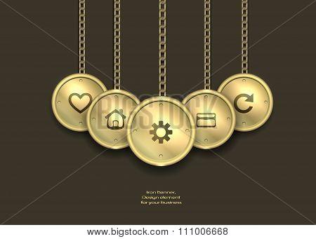 metallic banner locket. steampunk. steampunk