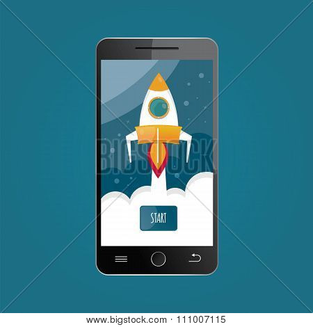 Modern Vector Illustration Of Mobile Start Up..