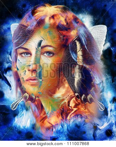 Beautiful Goddness women and color butterfly, mixed media, abstract color background, violet, blue,