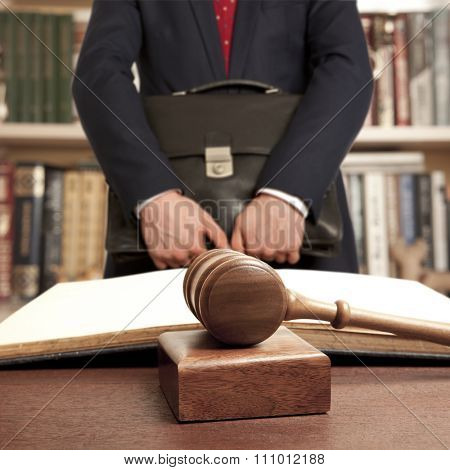 Caucasian lawyer in court. Law concept