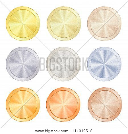 Vector Round Polished Knob Centric Circles With Different Types Of Metal, Gold, Red Gold, Platinum,