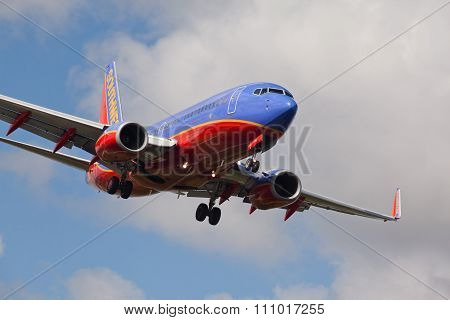 FORT LAUDERDALE, USA - JUNE 2, 2015: Southwest Airlines Boeing 737 landing.