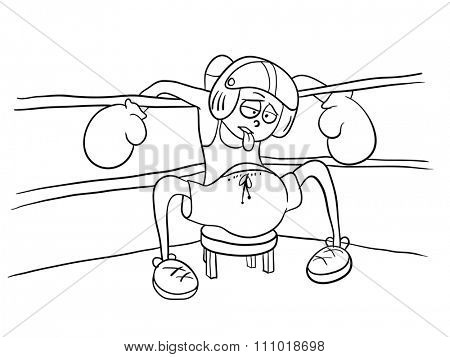 beaten boxer resting in the corner, illustration