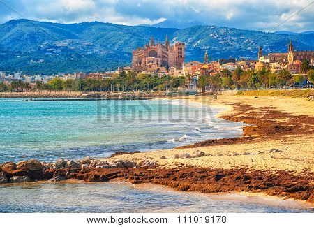 Sand Beach In Palma De Mallorca, Gothic Cathedral In Background, Spain