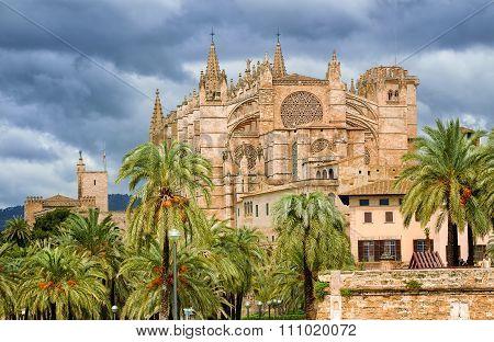 Gothic Style Dome Of Palma De Mallorca, Spain