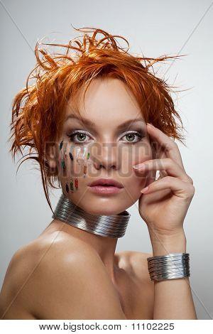 Studio Fashion Portrait Of Young Futuristic Woman