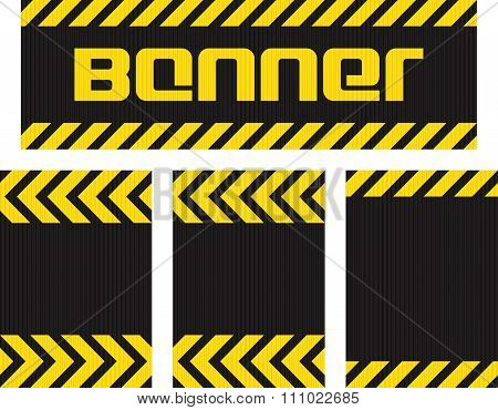 Vector Banner With Horizontal Yellow And Black Lines On The Corrugated Metal Surface Black And Three