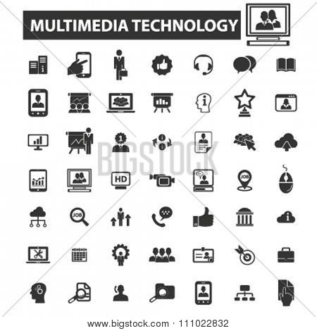 multimedia technology icons, signs vector concept set for infographics, mobile, website, application