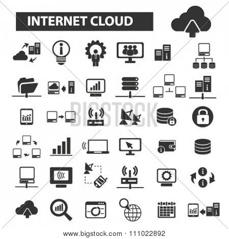 internet cloud icons, signs vector concept set for infographics, mobile, website, application