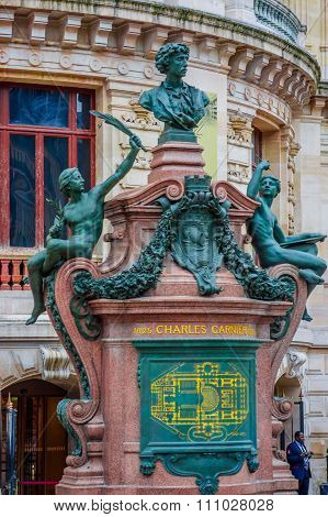 Monument to Charles Garnier, architect of the Palais Garnier, Paris Opera House, France poster