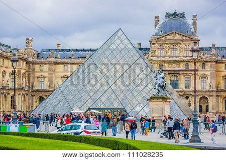 Louvre Museum exterior in Paris, France