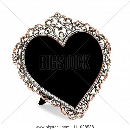 Metal photo frame inlaid with rhinestones in form of heart