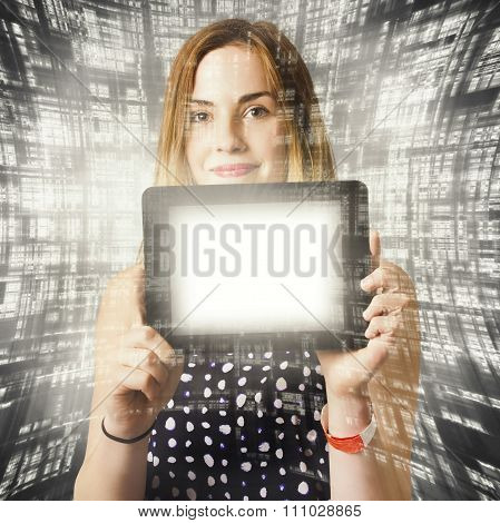Women Holding Tablet Technology