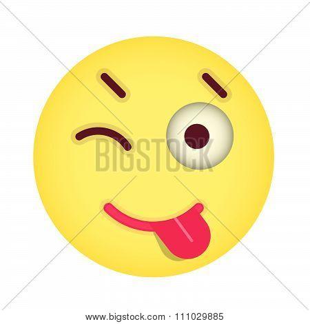 Flat Eyewink With Tongue Emoticon. Isolated Vector Illustration On White Background