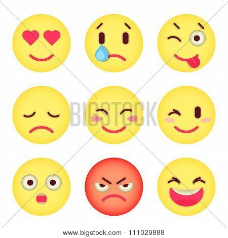 Set Of Flat Emoticons. Set Of Emoji. Isolated Vector Illustration On White Background