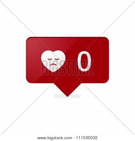 Like Counter Notification Icon Red Color. Vector Stock.