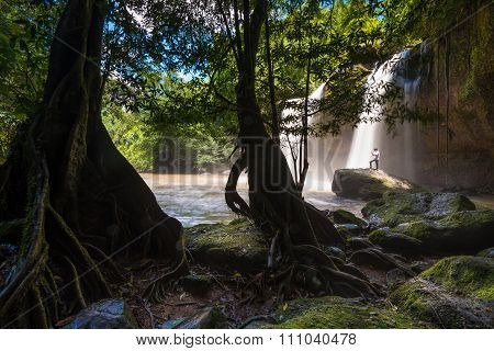 Heo Suwat Waterfall in Khao Yai National Park in Thailand.