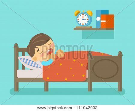Boy sleeping in the bed