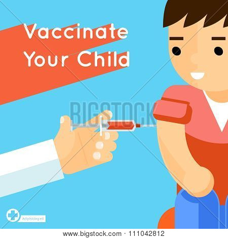Child vaccination vector concept poster