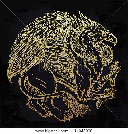Griffin beast illustration.