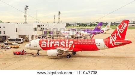 Bangkok, Thailand - Dec 11, 2015. Aircraft of Air asia Airlions, thaismile Airlines, nok airlines ar