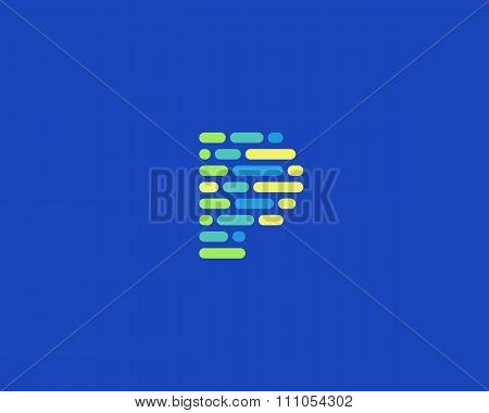 Abstract letter P logo.  Dynamic code vector unusual font.