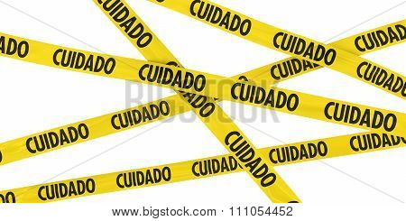 Yellow Cuidado Barrier Tape Background Isolated On White