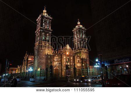 Illuminated Catholic Cathedral in Puebla