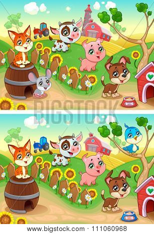 Spot the differences. Two images with seven changes between them, vector and cartoon illustrations.