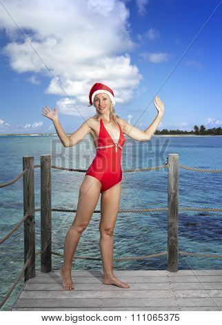 The woman in New Year's Santa-Klaus cap on background of ocean