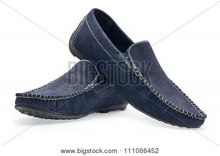 Pair Leather Blue Color Male Moccasins