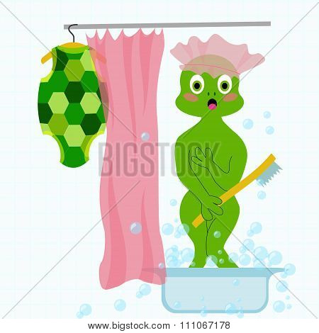 Vector embarrased and frightened turtle in bathroom took off his clothes and washing. Fun illustrati