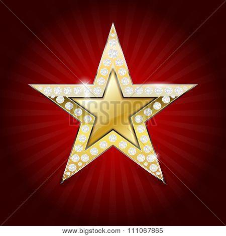 Shiny Golden Star With Diamonds