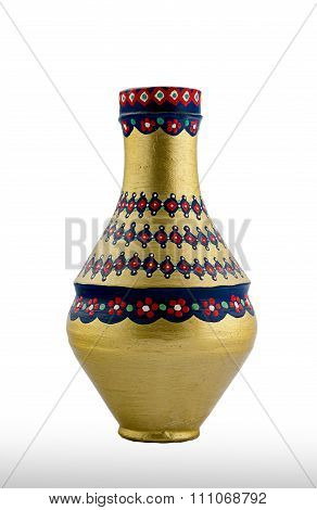 A Golden Egyptian pottery vessel made of clay one of the oldest habits of the Ancient Egyptians poster