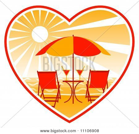 Deckchairs On Beach In Heart