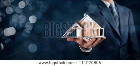 Real estate agent offer house represented by model. Wide banner composition with bokeh background. poster