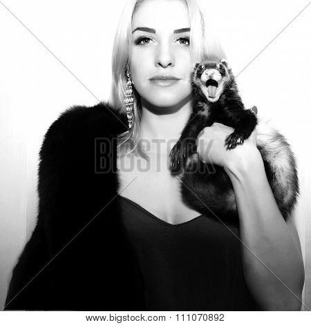 The Woman, Coat And Ferret